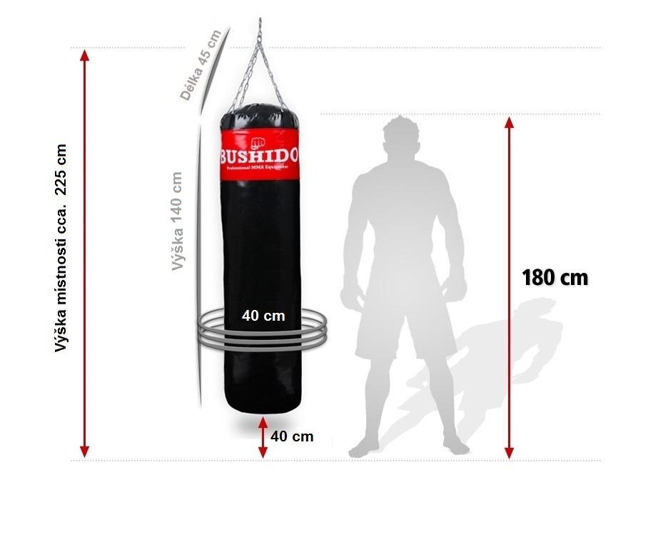 Boxovací hákový pytel DBX BUSHIDO rozměry