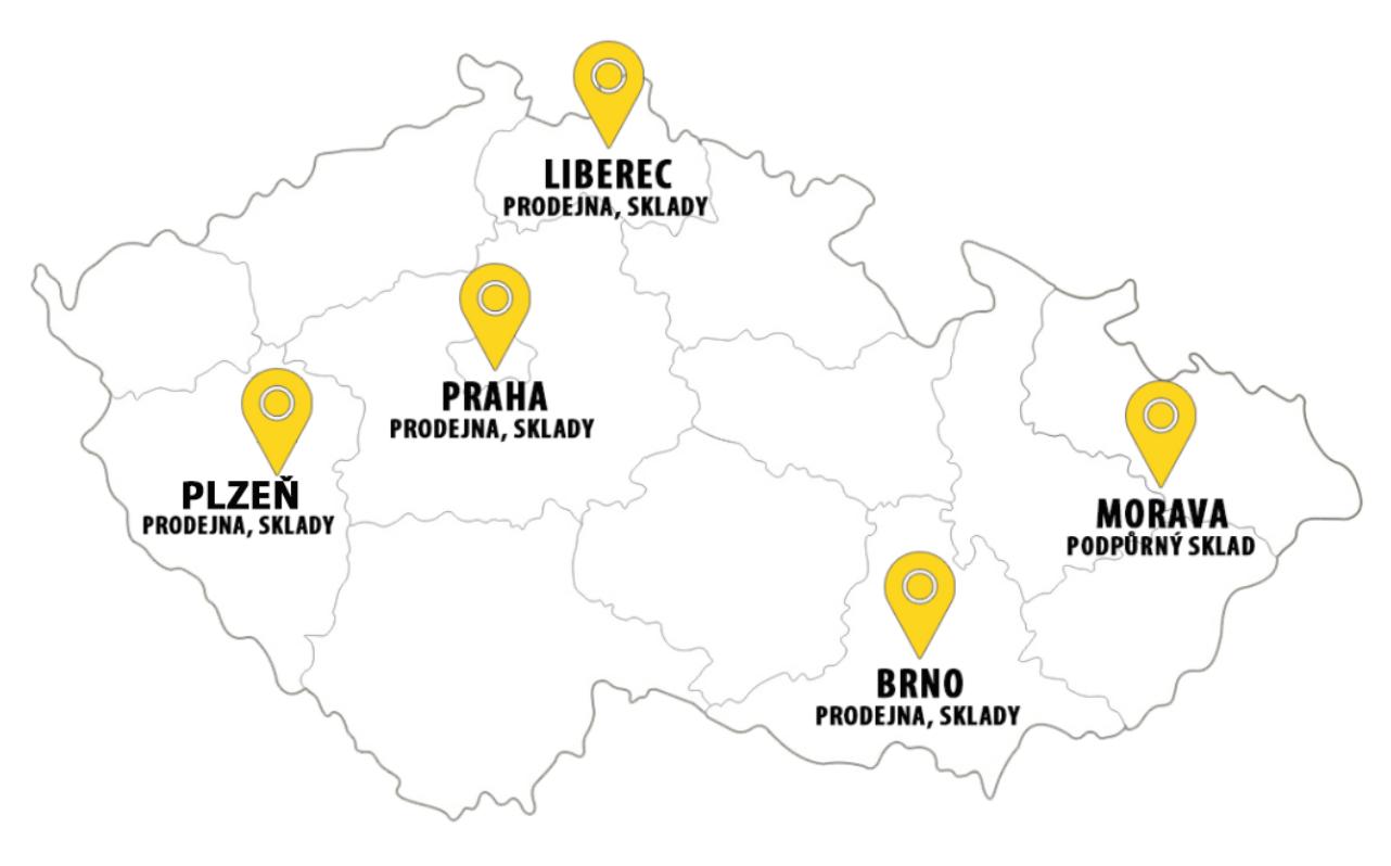 Mapa - pobočky Fitham