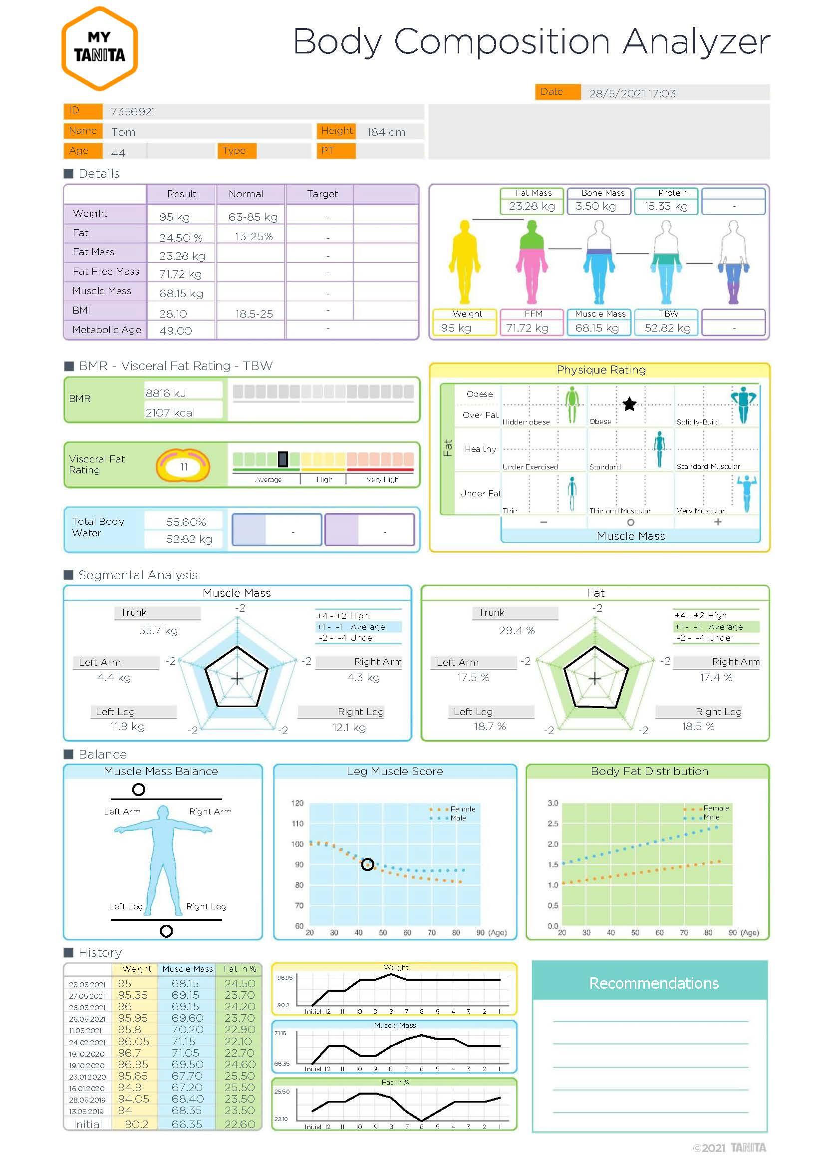 Export z aplikace MyTanita pro segmentální analyzátory