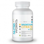 NUTRIWORKS Magnesium Citrate + B6 120 kapslí