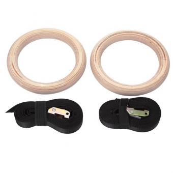 Gymnastické kruhy dřevěné s popruhy pár