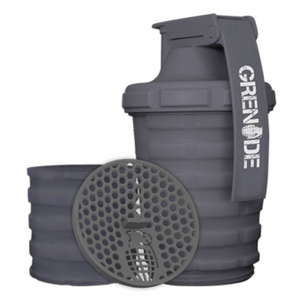 Shaker GRENADE 600 ml + 150 ml šedý