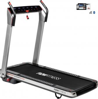 Běžecký pás FLOW Fitness DTM400i z profilu + app