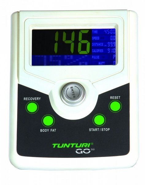 Přehledný LCD displej rotopedu Tunturi Bike GO 50