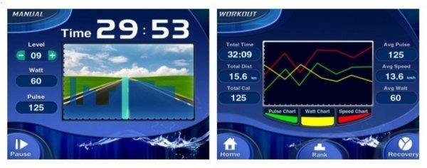 Cvičení vylepšují různé motivační režimy Tunturi Pure Bike R 4.1