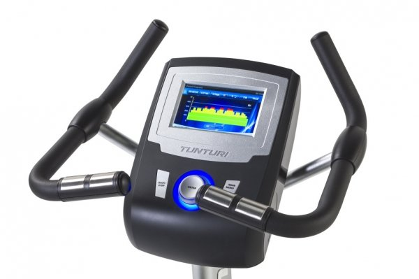 Rotoped LCd displej s přehledným a pohodlným ovládáním stroje - Tunturi platinum PRO Upright Bike