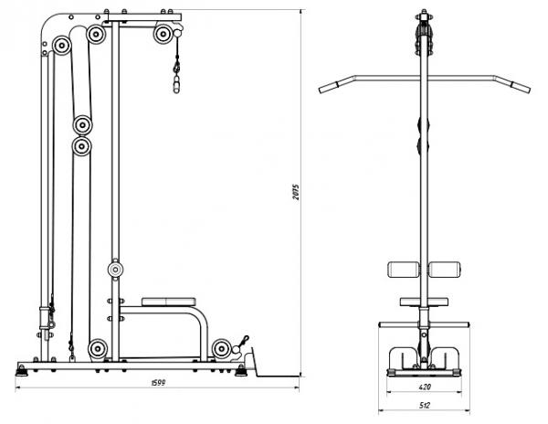 Posilovací lavice s kladkou MARBO MH-W106