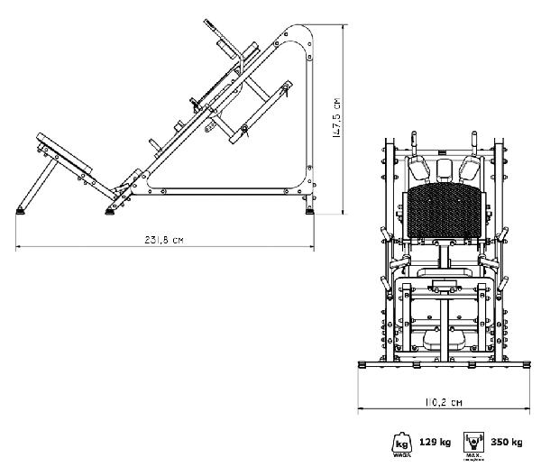 Posilovací stroj na činky  MARBO MS-U106 rozměry