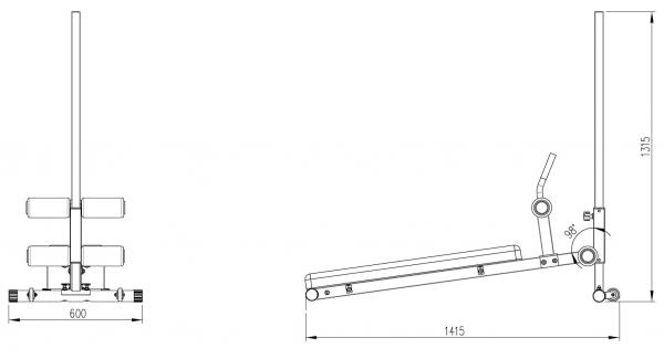 Posilovací lavice na břicho TRINFIT Ultra výkresg