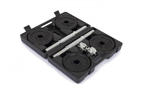 Činky jednoručky TRINFIT Činky jednoručky v kufříku 2x 10 kg 30 mm otevřenýg