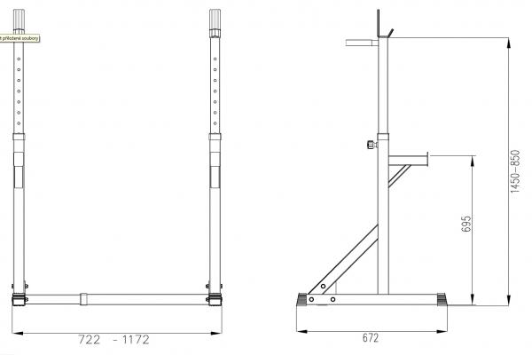 Posilovací lavice na bench press TRINFIT Rack HX3 výkres