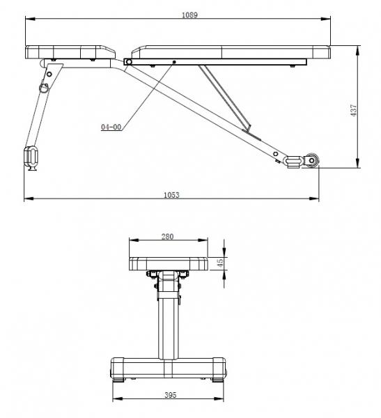 Posilovací lavice na jednoručky TRINFIT Vario LX3_rozměryg