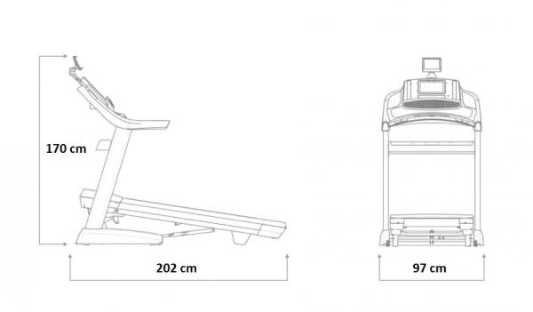 Běžecký pás NORDICTRACK Commercial 2450 rozměry trenažeru