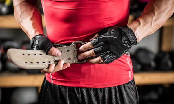 Fitness opasek kožený HARBINGER zapínání