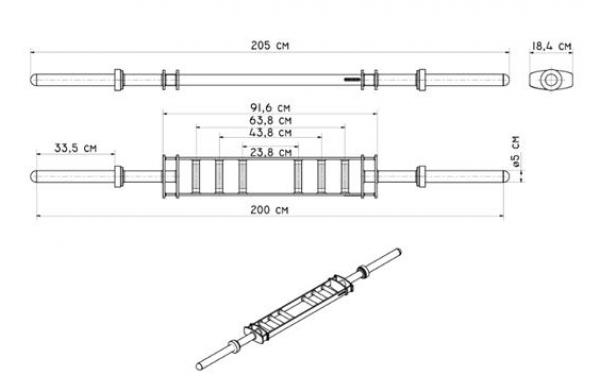 MULTIGRIP BAR MARBO MF-G007 rozměry