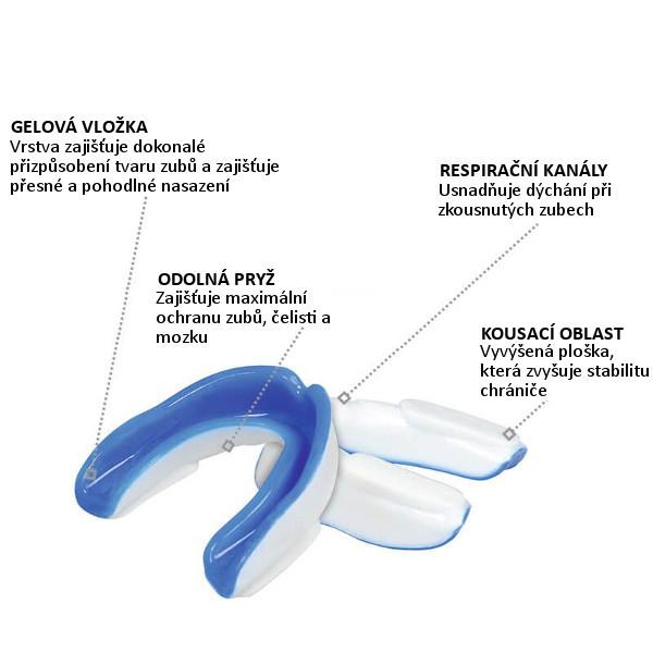 Chránič zubů gelový DBX BUSHIDO bílo-modrý popis