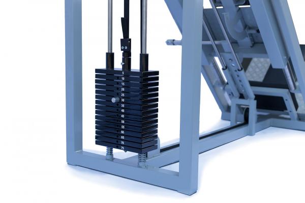Legpress hacken a dřep kombinovaný na cihly závaží