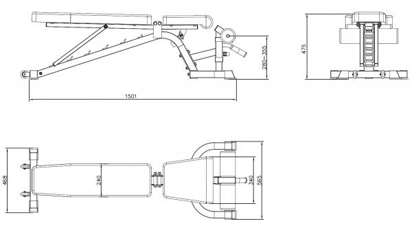 Posilovací lavice s kladkou TRINFIT vario LX7 výkres