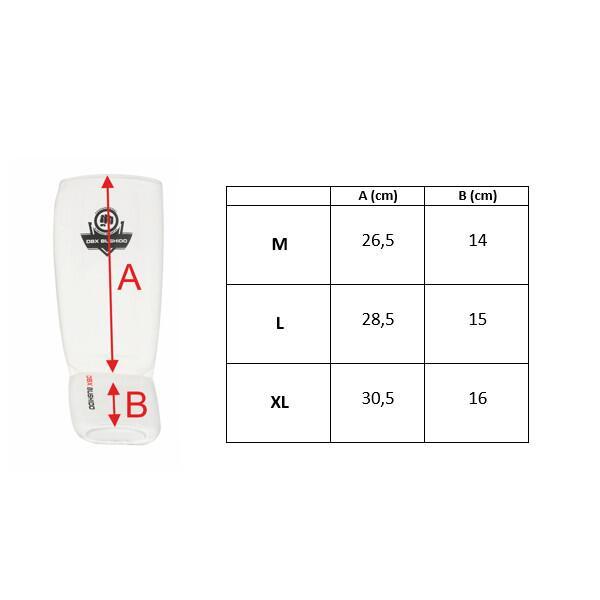 Chrániče holení a nártu DBX BUSHIDO ARP-2107 B bílé rozměry