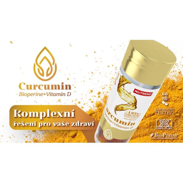 NUTREND Curcumin + Bioperine + Vitamin D 60 kapslí řešení