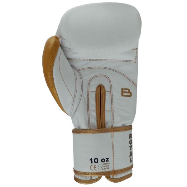 Boxerské rukavice kůže Royal BAIL bílé zezadu