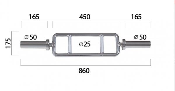 Formerfit - speciální osa na triceps 50 mm - rozměry