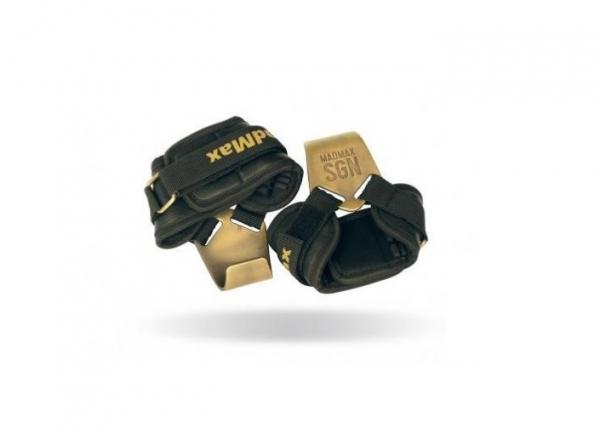 Posilovací háky Metallic Lat Hooks Plus MADMAX kožené pár
