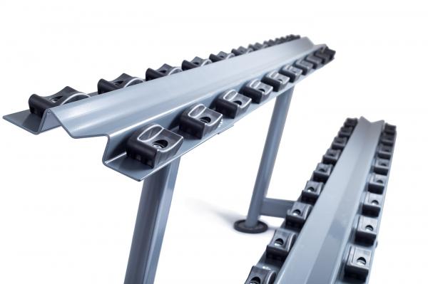 Stojan na jednoruční činky Rack Comfort TRINFIT - boční pohled 2