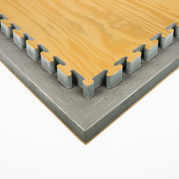 Tatami Wood 100 x 100 x 3 cm X-gym šedá-dřevo detail