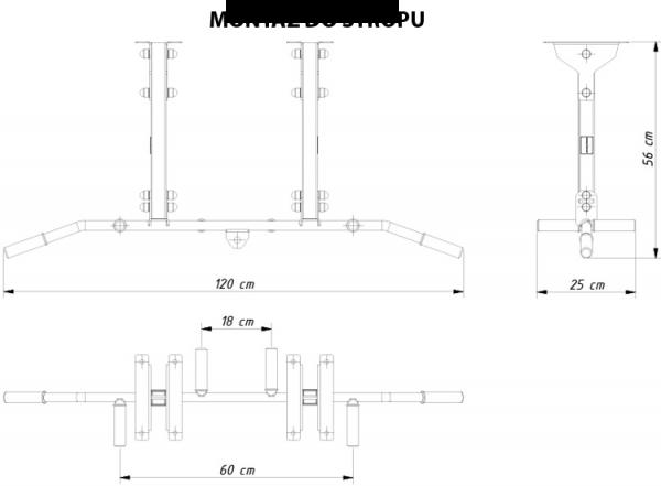Posilovací hrazda MARBO MH-D202 - rozměry monáž do stropu