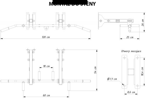 Posilovací hrazda MARBO MH-D202 - rozměry pro monáž do zdi