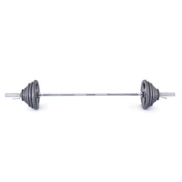 Olympijská činka TRINFIT 130 kg Hammertone čelní