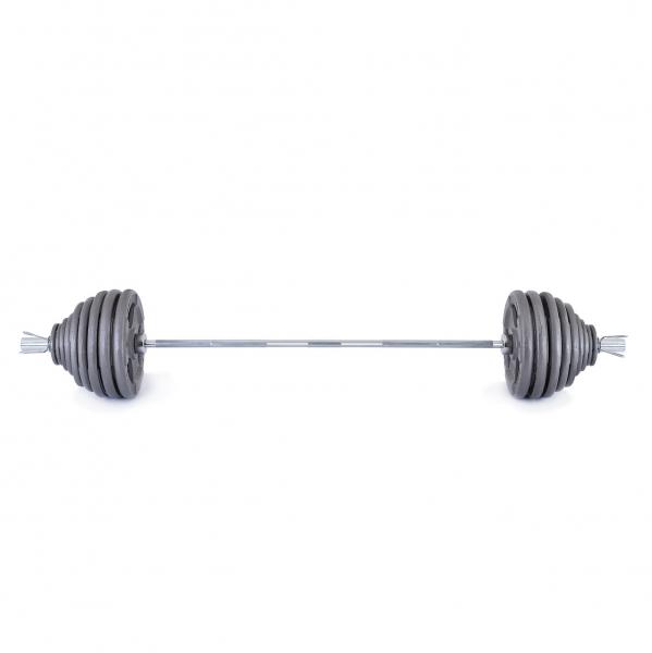 Olympijská činka TRINFIT 230 kg Hammertone čelní