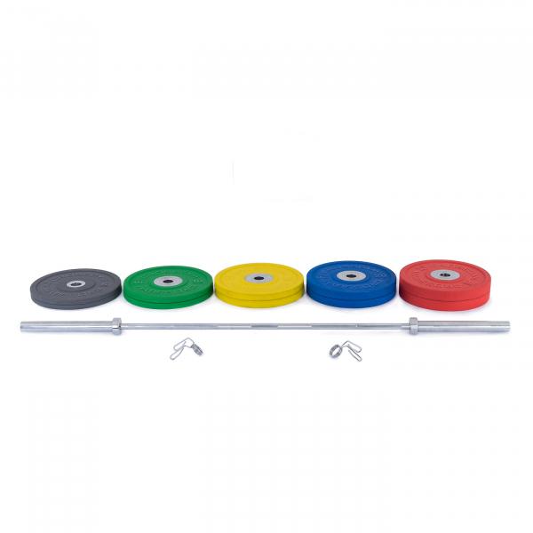 Olympijská činka TRINFIT 170 kg Bumper CrossGym složení