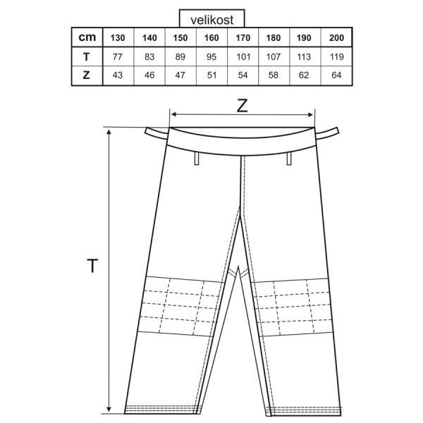 Kimono Judo bílé velikosti kalhoty