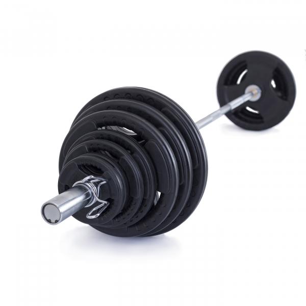 Olympijská činka TRINFIT 130 kg pugumovaná