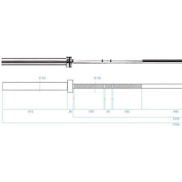 Olympijská osa HMS PREMIUM GO685 220 cm x 50 mm rozměry