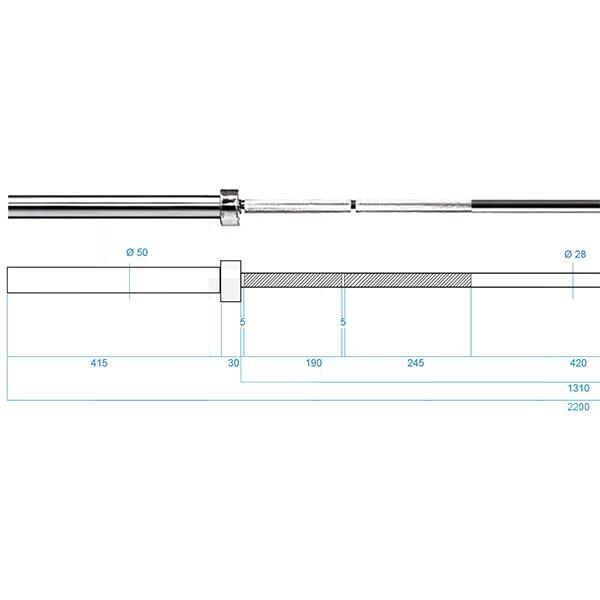 Olympijská osa HMS PREMIUM GO1100 220 cm x 50 mm rozměry