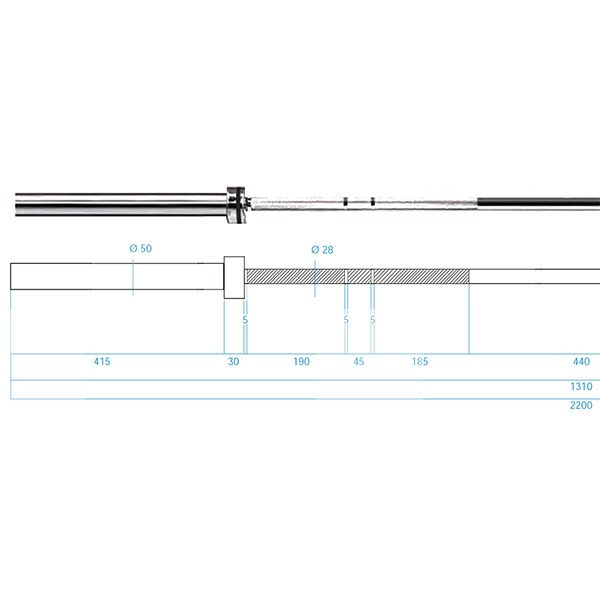 Olympijská osa HMS PREMIUM GO901 220 cm x 50 mm rozměry
