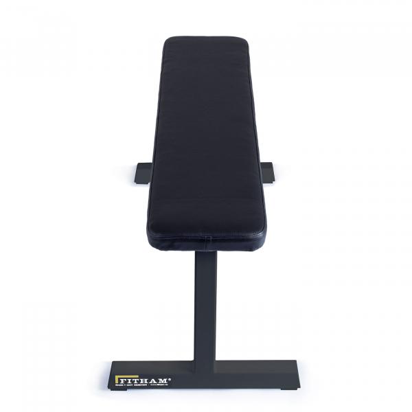 Posilovací lavice na jednoručky FITHAM Posilovací lavice rovná PROFI černá přední pohled