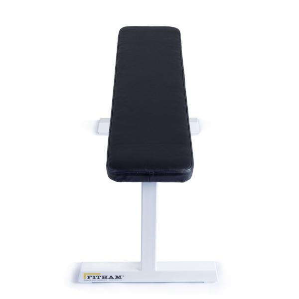 Posilovací lavice na jednoručky FITHAM Posilovací lavice rovná PROFI bílá přední pohled
