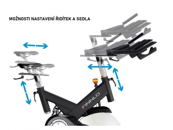Cyklotrenažér FINNLO Speed Bike CRS III Nastavení sedla a řidítek