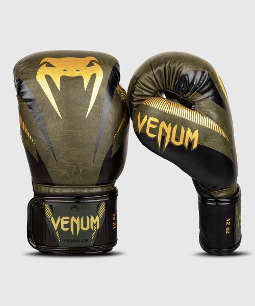 Boxerské rukavice Impact khaki zlaté VENUM side