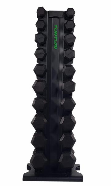 Stojan na činky TUNTURI Pro Tower s činkami z boku