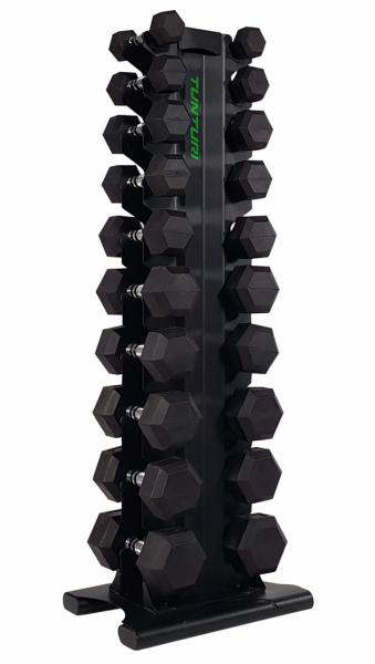 Stojan na činky TUNTURI Pro Tower s činkami z profilu