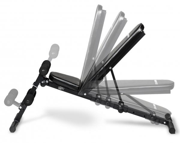 Posilovací lavice na jednoručky Posilovací lavice FLOW Fitness SMB50 z boku - možnost polohování