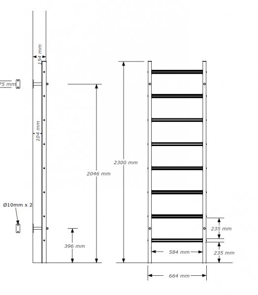 Kovové ribstole BenchK 210B rozměry