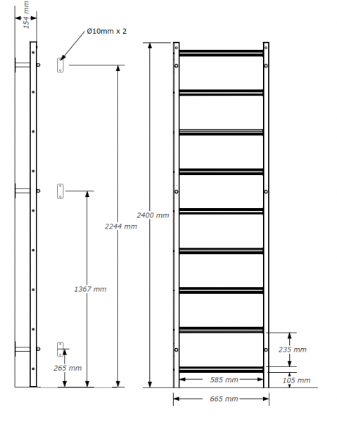 Kovové ribstole BenchK 310B rozměry