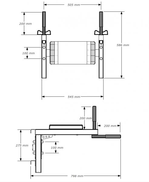 Závěsná bradla BenchK DB3 rozměry