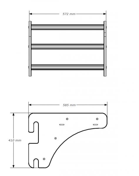 Kovové ribstole BenchK_212B hrazda rozměry